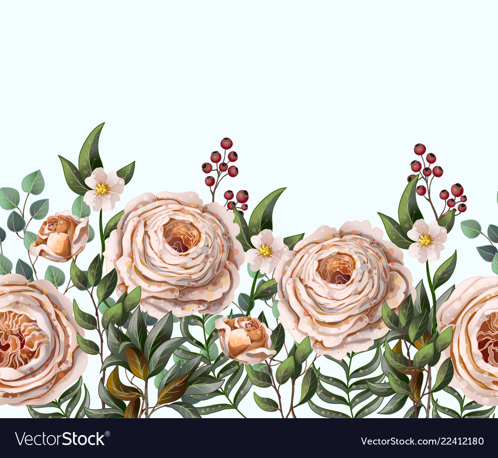 Border with english peachy roses