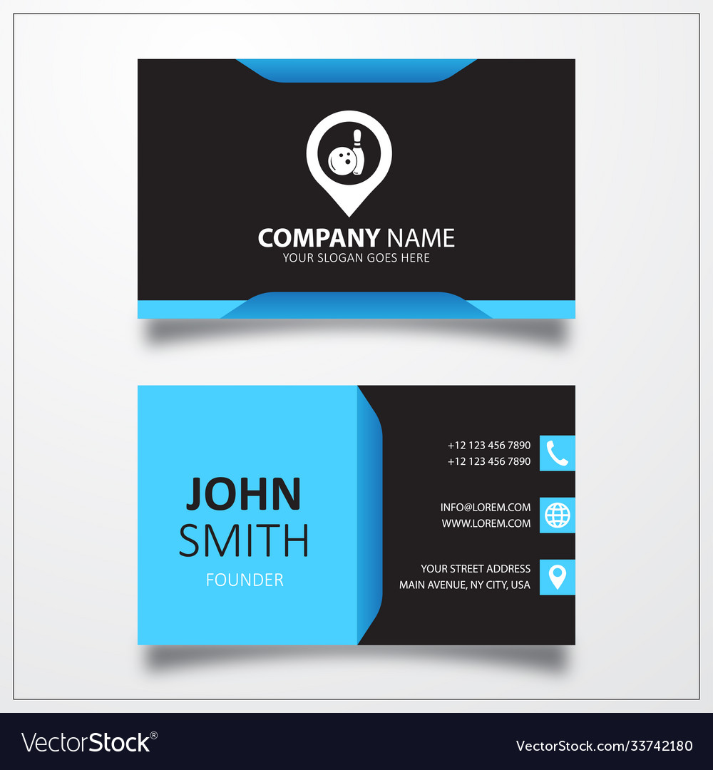 Bowling with pin icon business card template