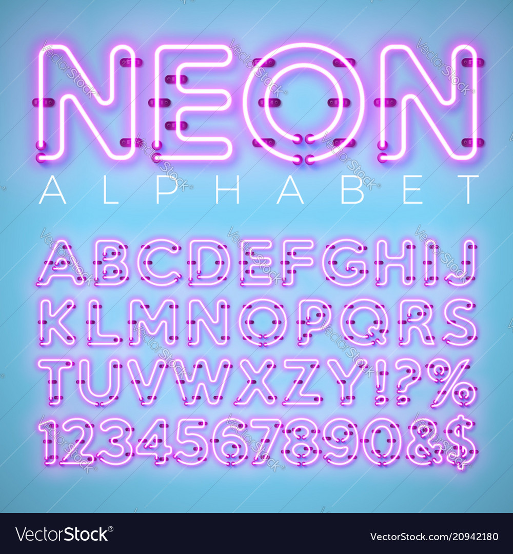 Bright neon alphabet on blue background