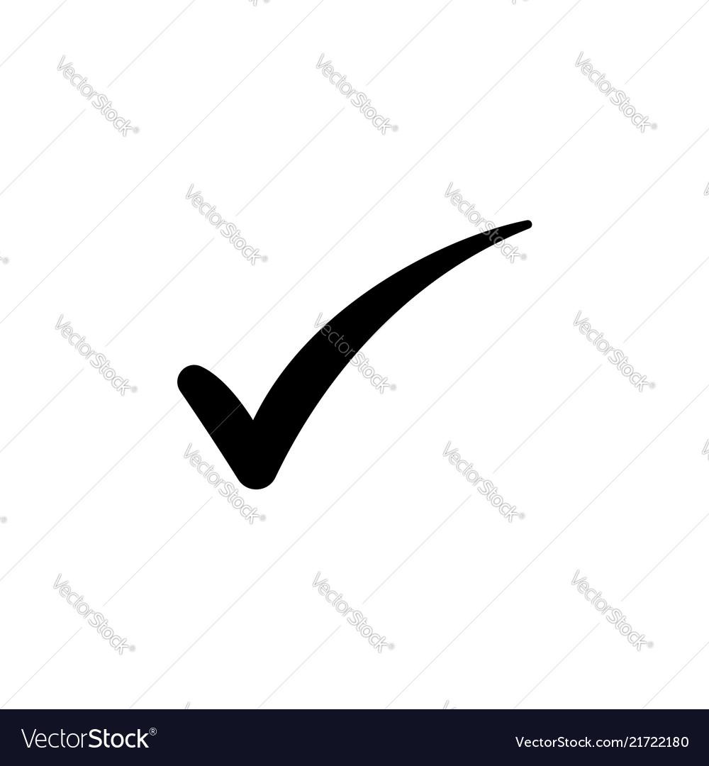 Check mark symbol black on white