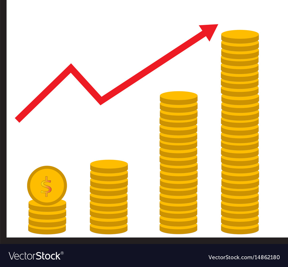 Coin stack money graph up flat icon on white