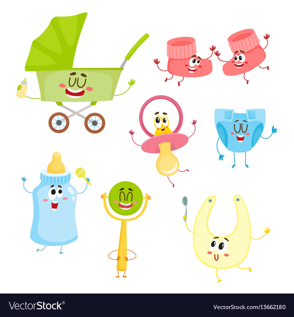 Kid items baby care supply characters with human