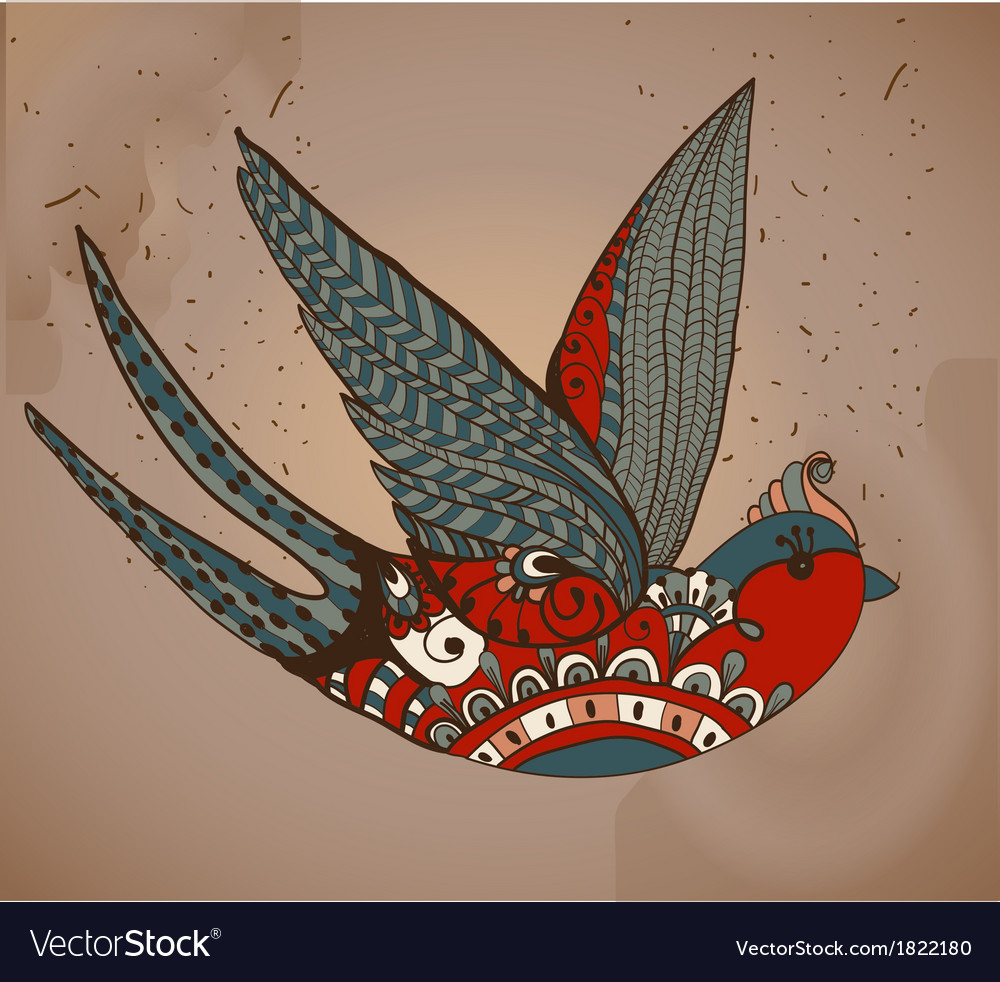 Old-school style tattoo swallow Vintage Valentine vector image