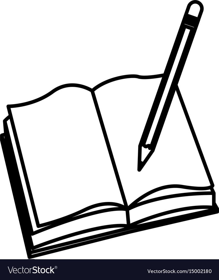 open book pencil write school image royalty free vector