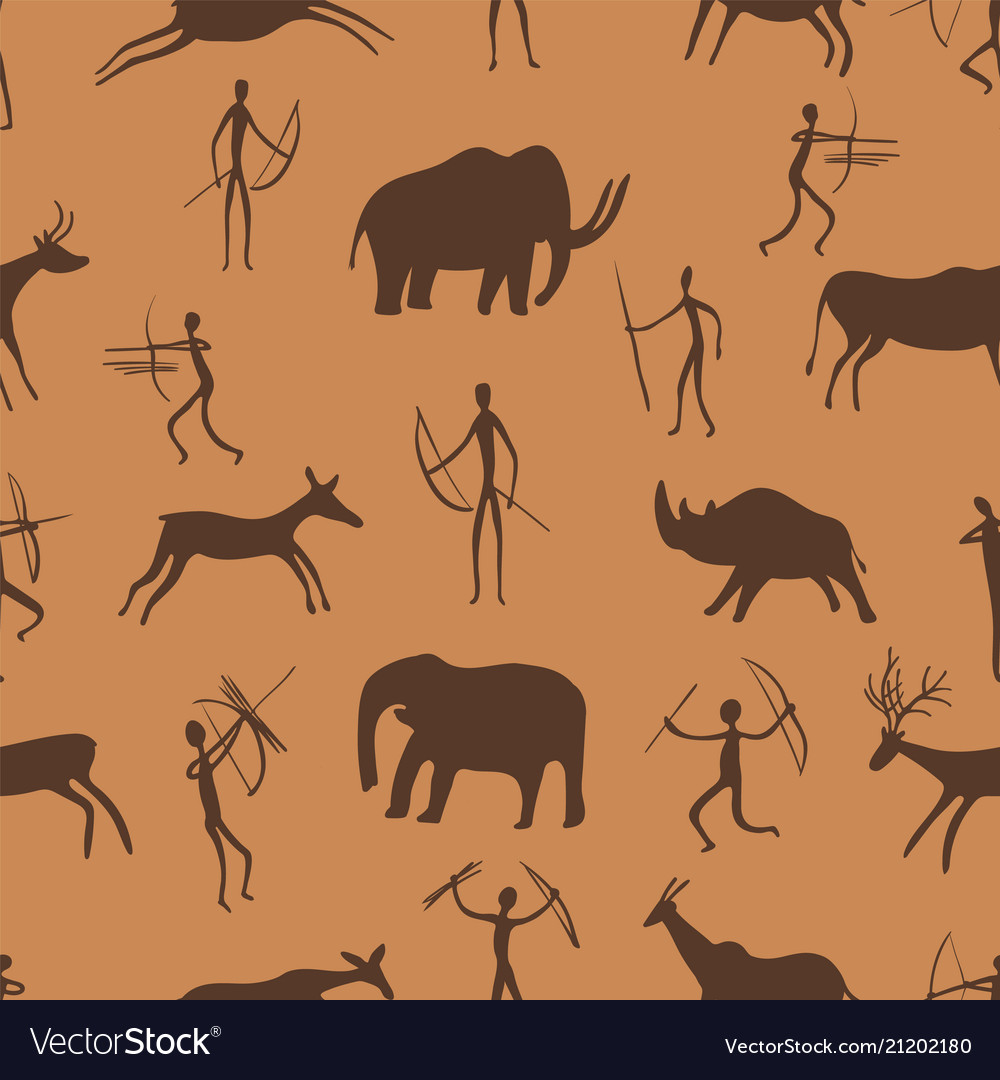 Seamless pattern ancient rock paintings show