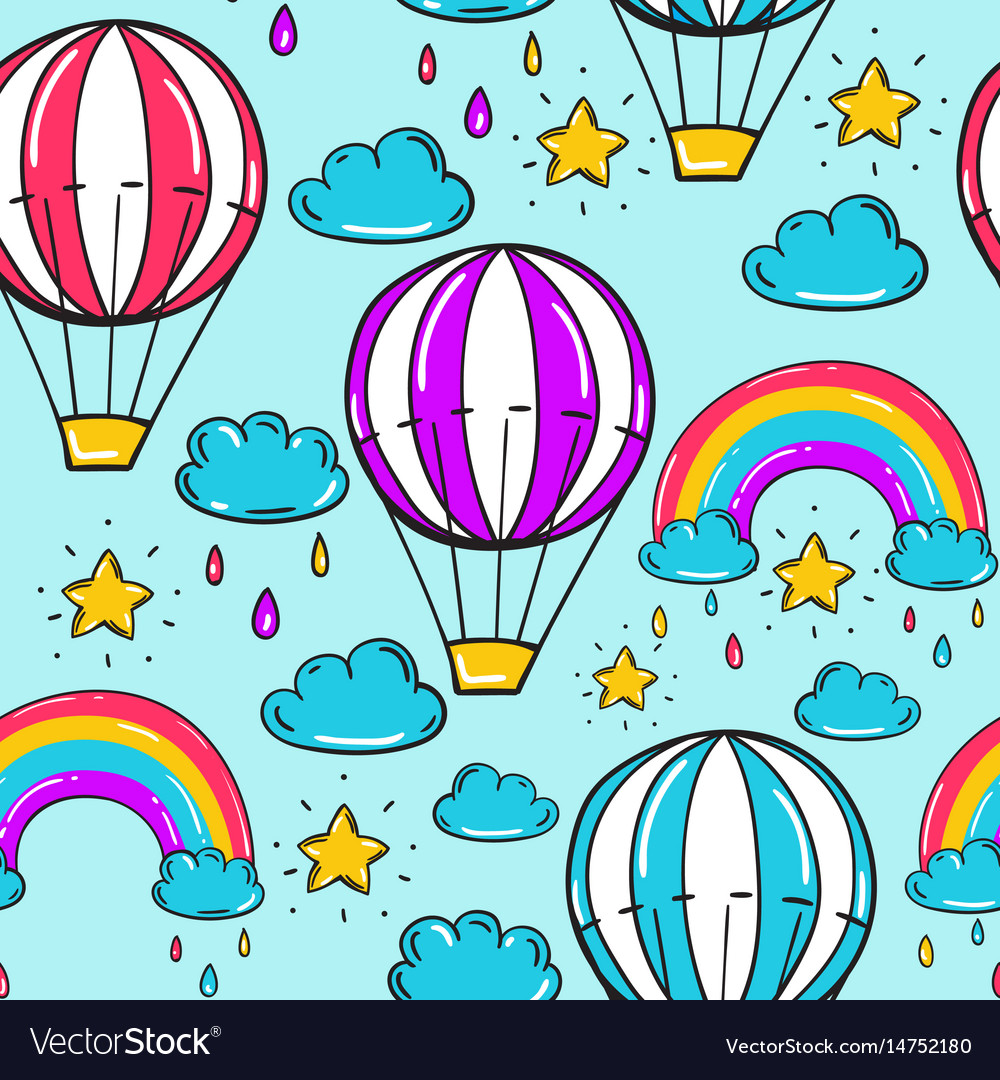 Seamless pattern with balloon stars rainbow