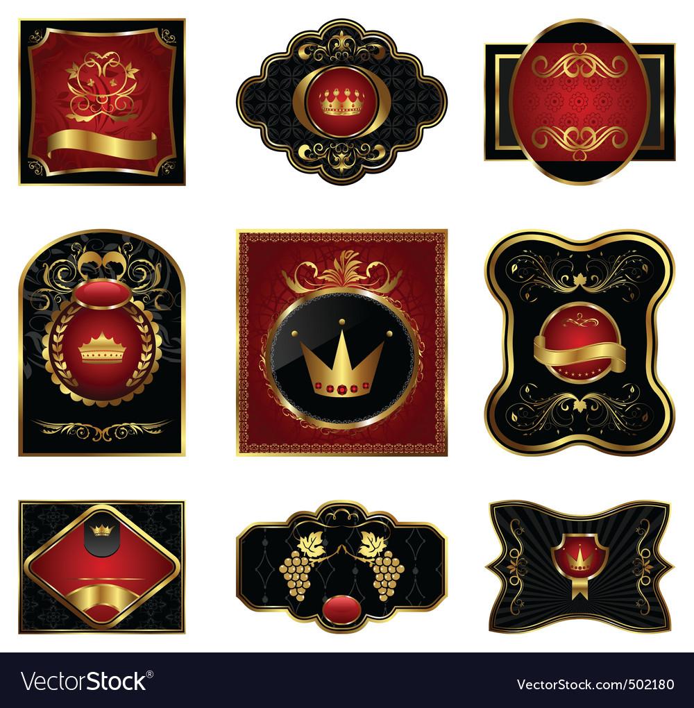 8c5cdd5d7c7 Set black gold framed labels Royalty Free Vector Image