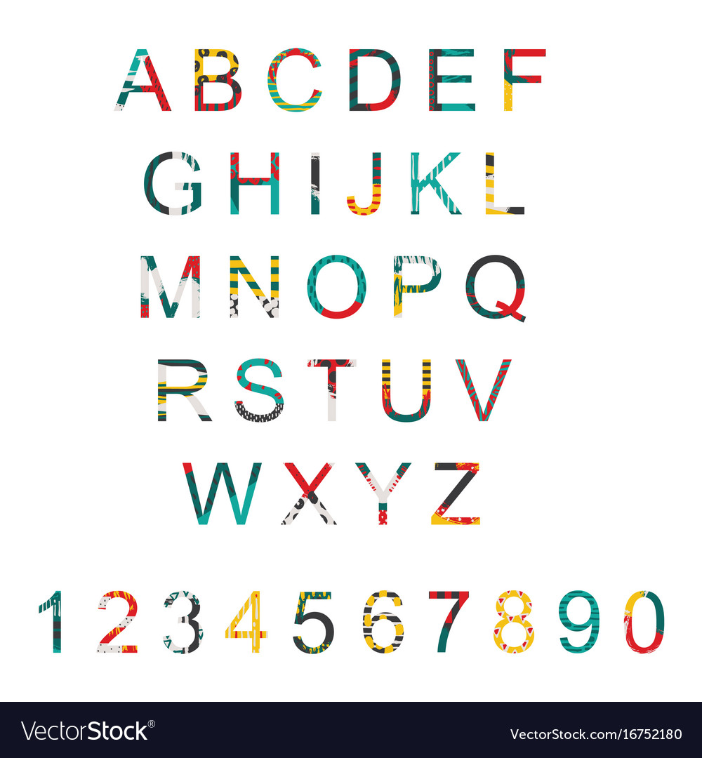 Typography set with alphabet letters