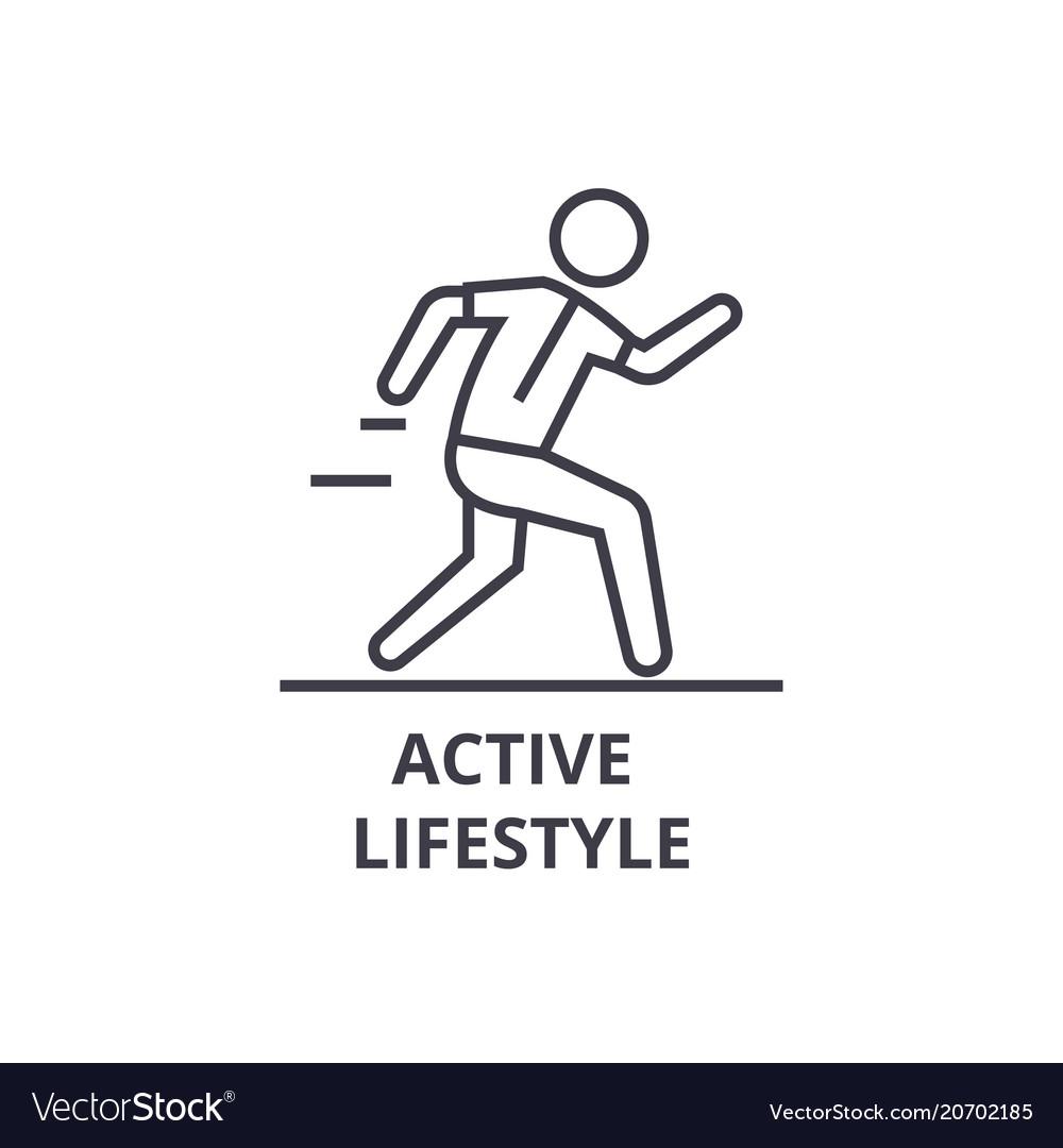 Active lifestyle thin line icon sign symbol