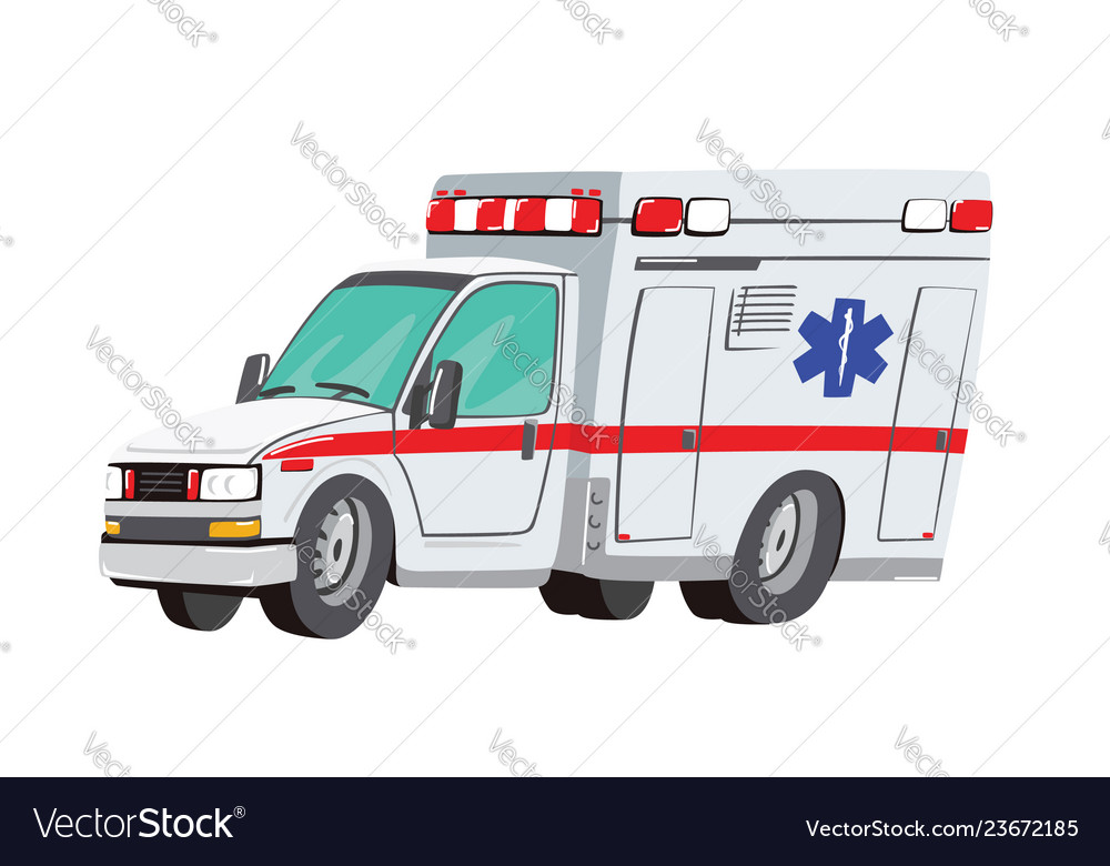 Ambulance car on white