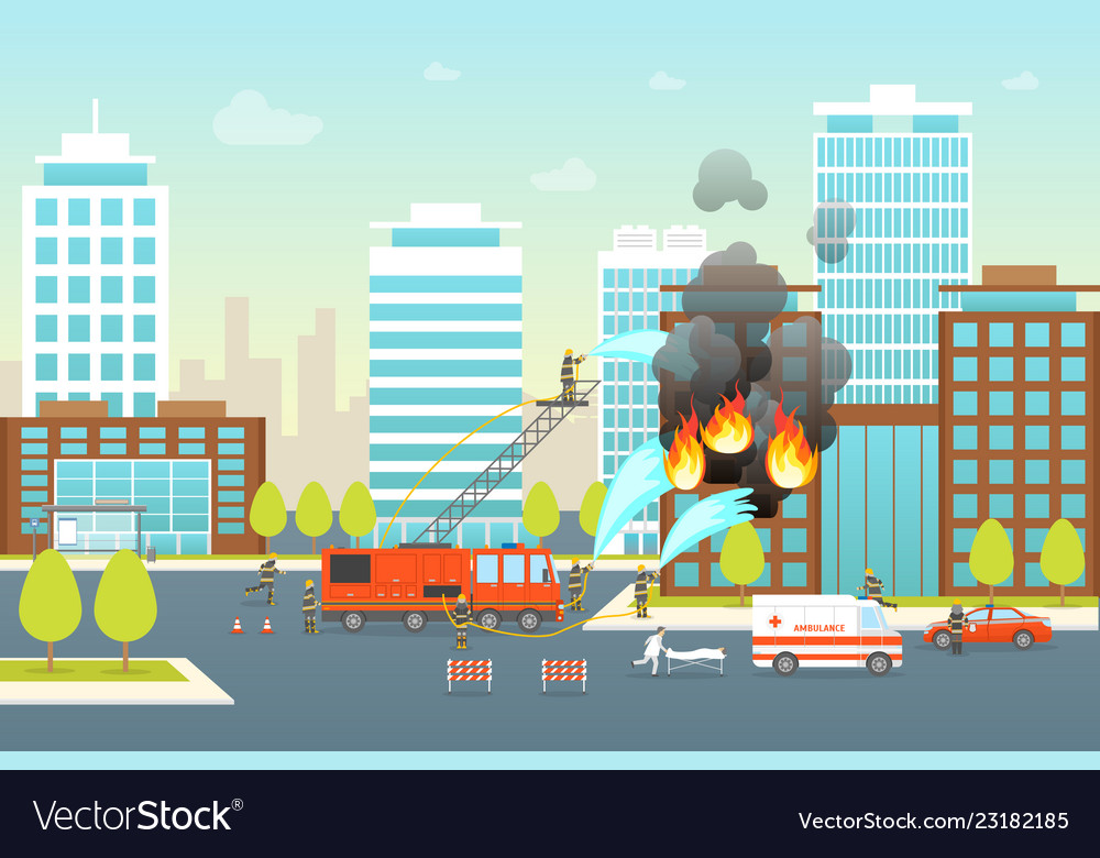 Cartoon firefighting composition in city card