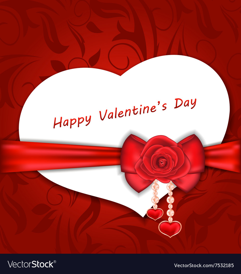 Celebration Card Heart Shaped with Silk Bow and vector image