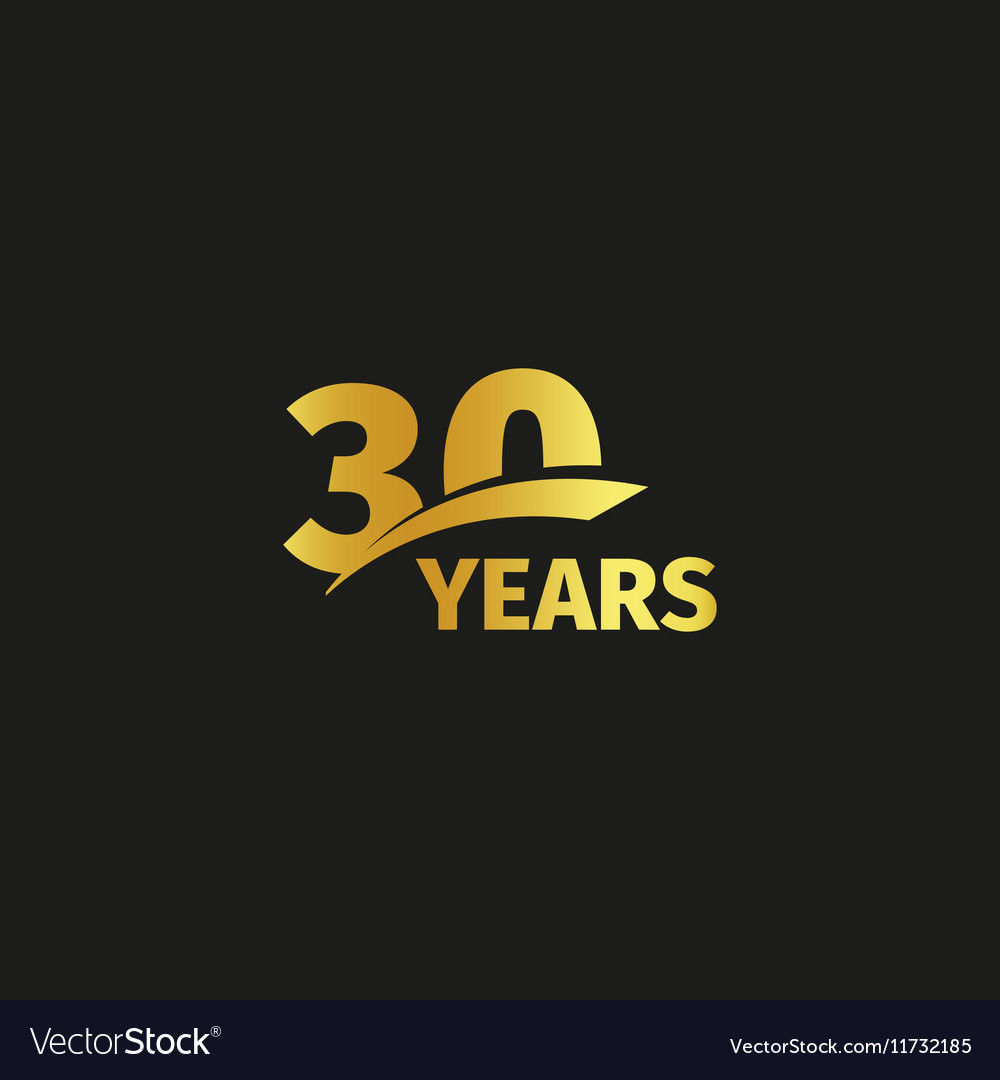 Isolated abstract golden 30th anniversary logo on