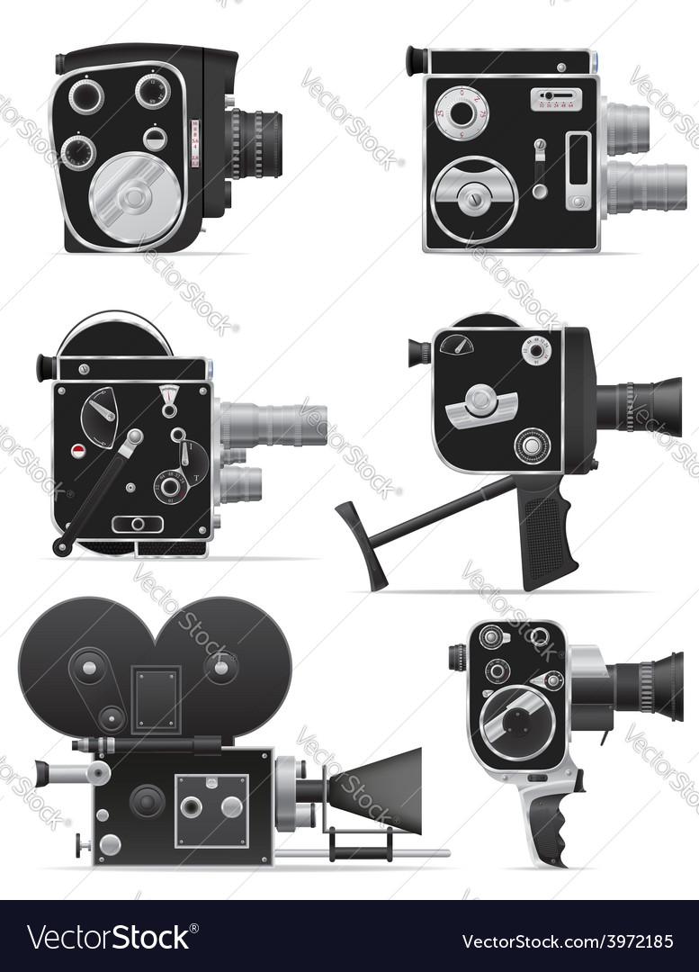 old retro vintage movie video camera 06 vector image