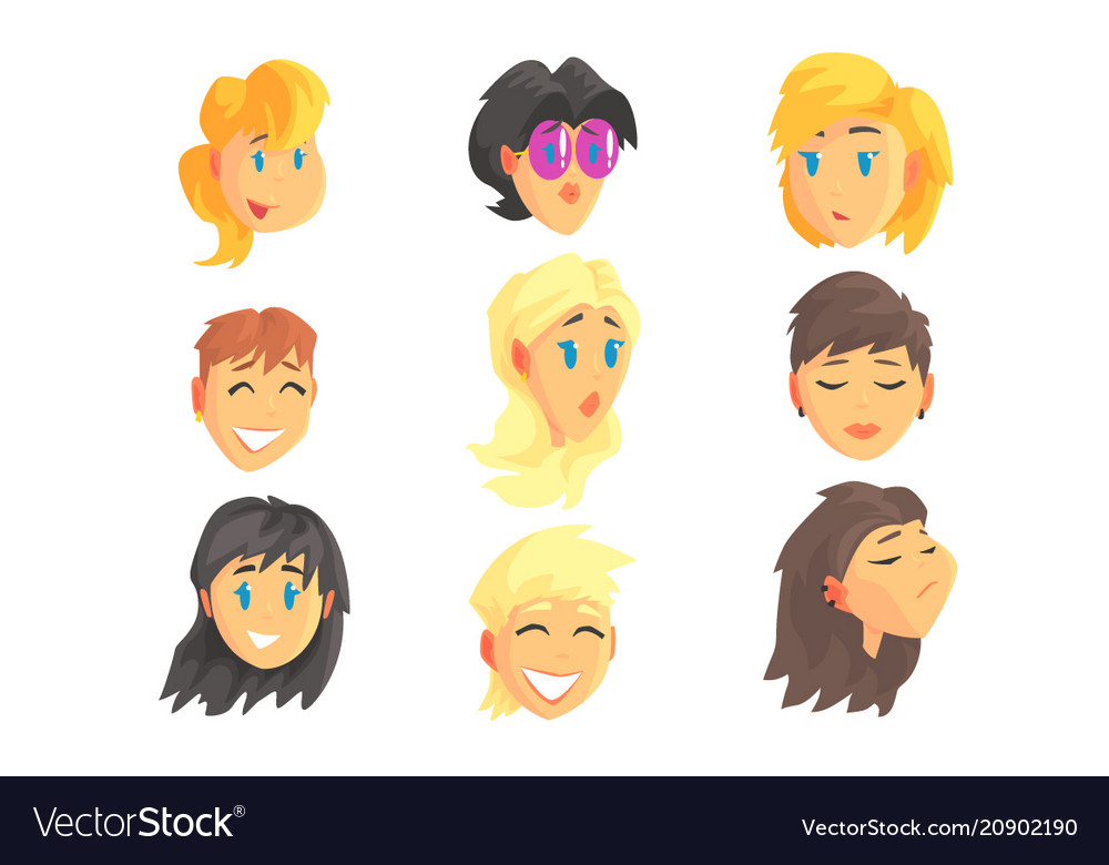 Cartoon avatar female faces with different