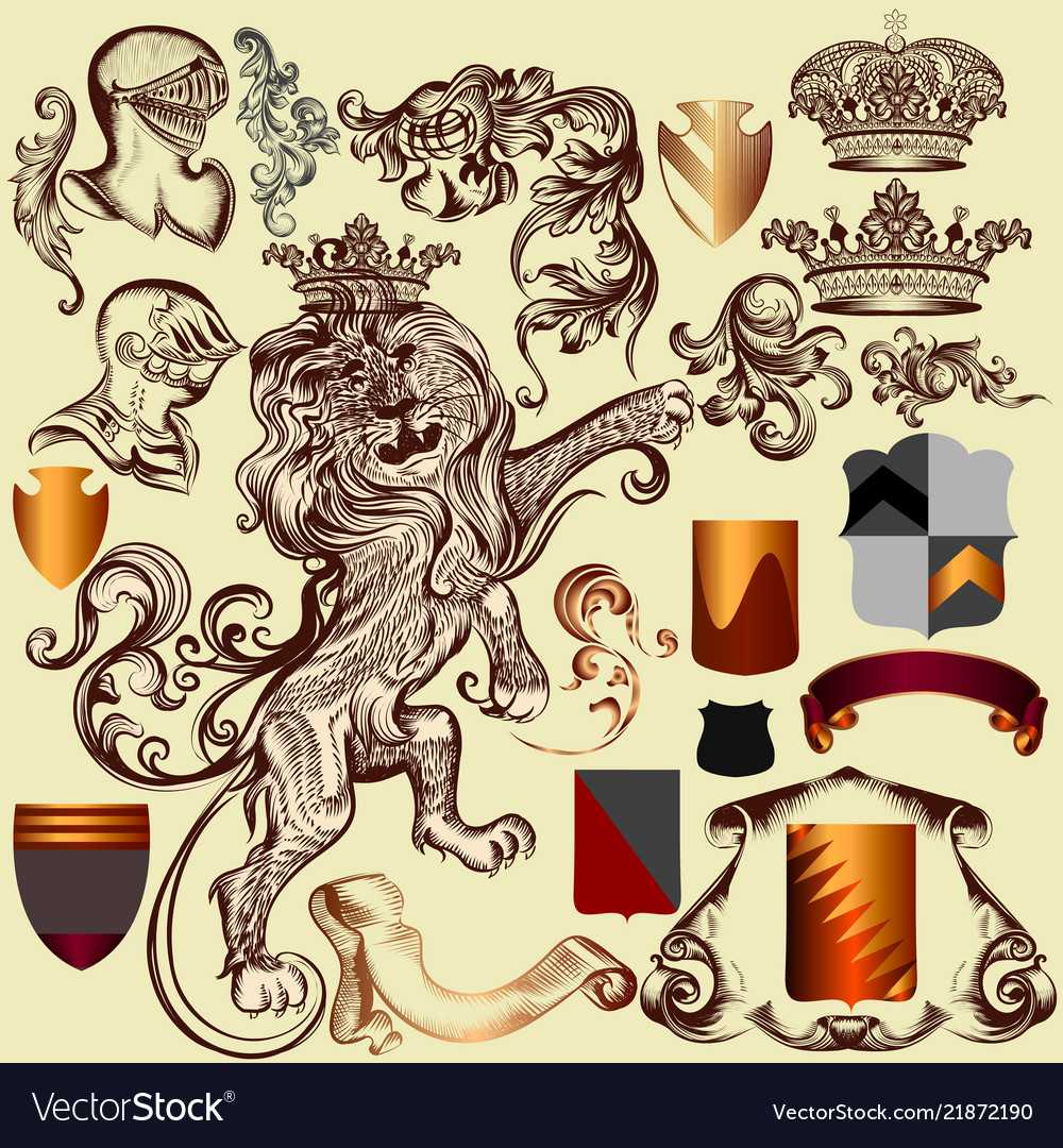 Collection of heraldic elements for design