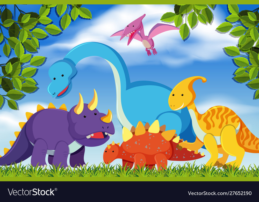 Dinosaurs In Woods Scene Royalty Free Vector Image