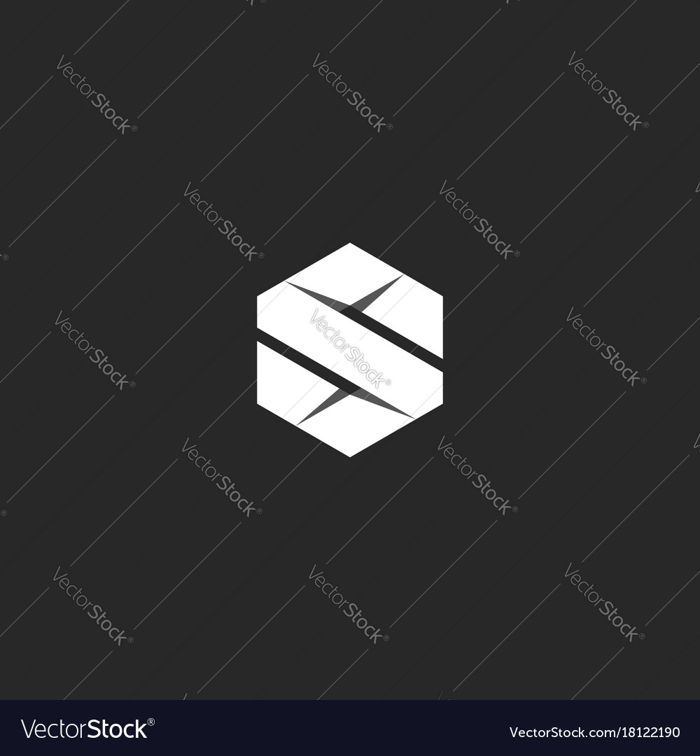 Letter s logo in the geometric form of a hexagon