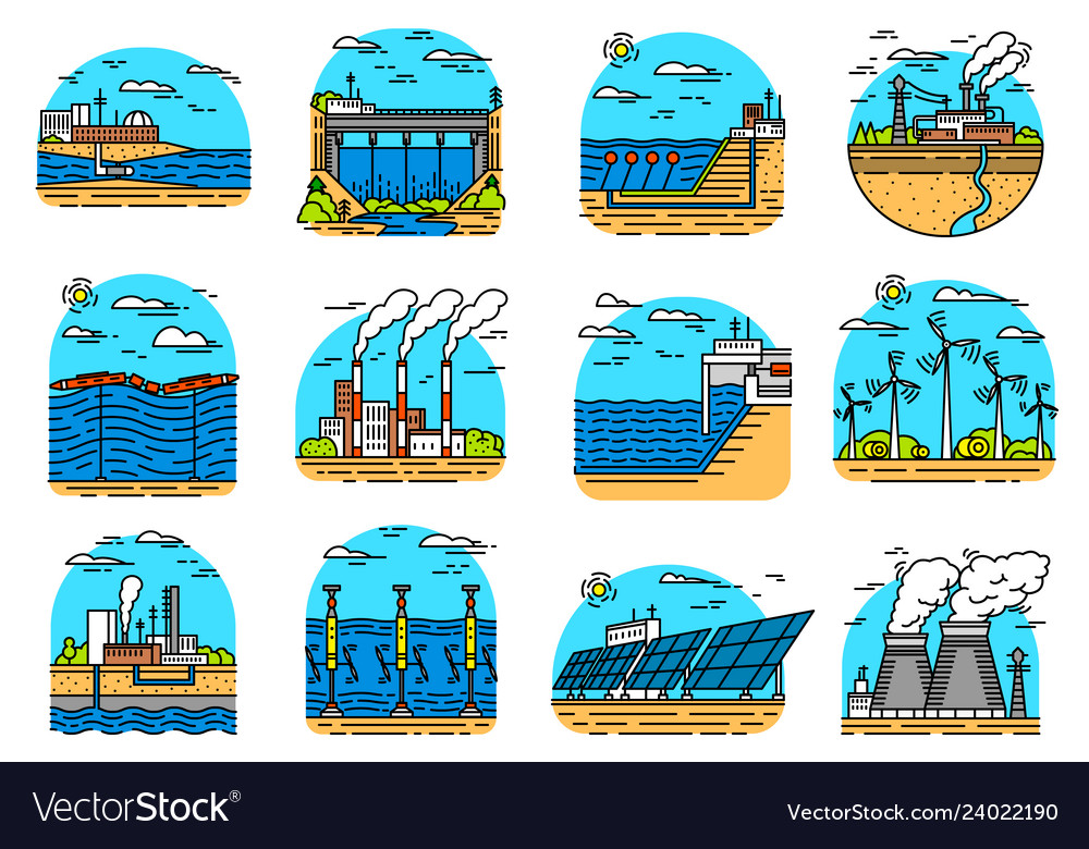 Power plants icons set industrial buildings