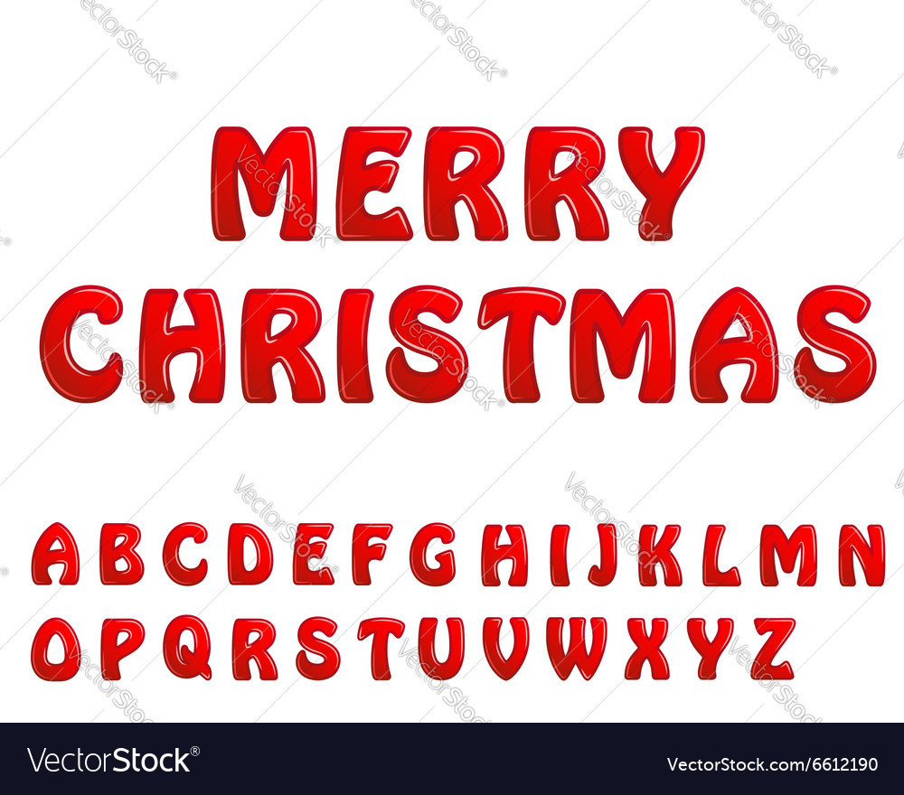 Christmas Letters.Red Shiny Letters Holiday Fonts Merry Christmas
