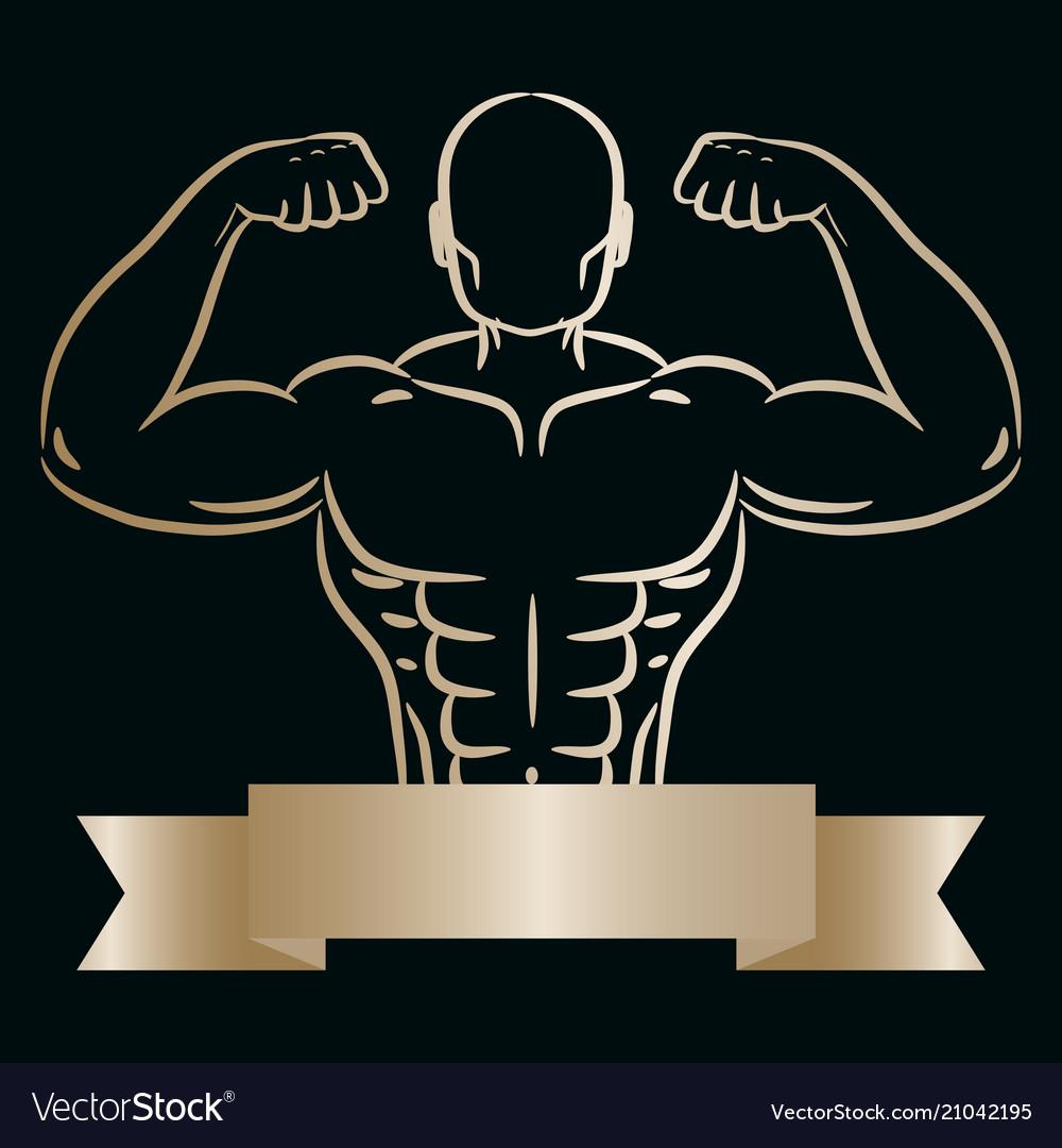 Athlete man gold sketch hand drawn silhouette