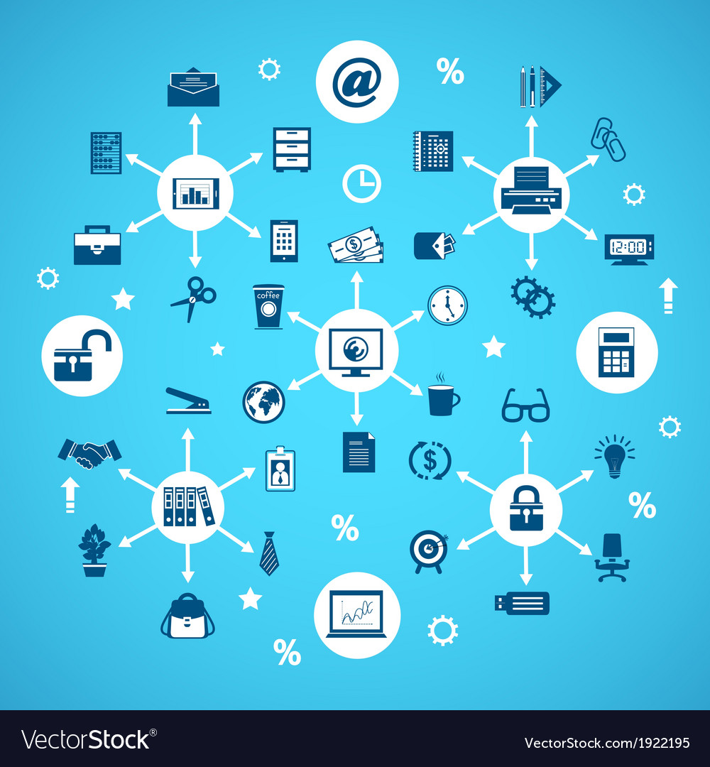 Business office items network vector image