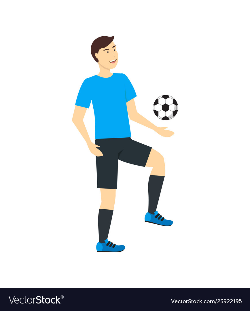 Cartoon character man training or playing soccer