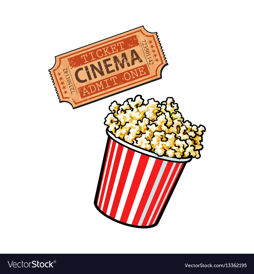 Cinema objects - popcorn bucket and retro style