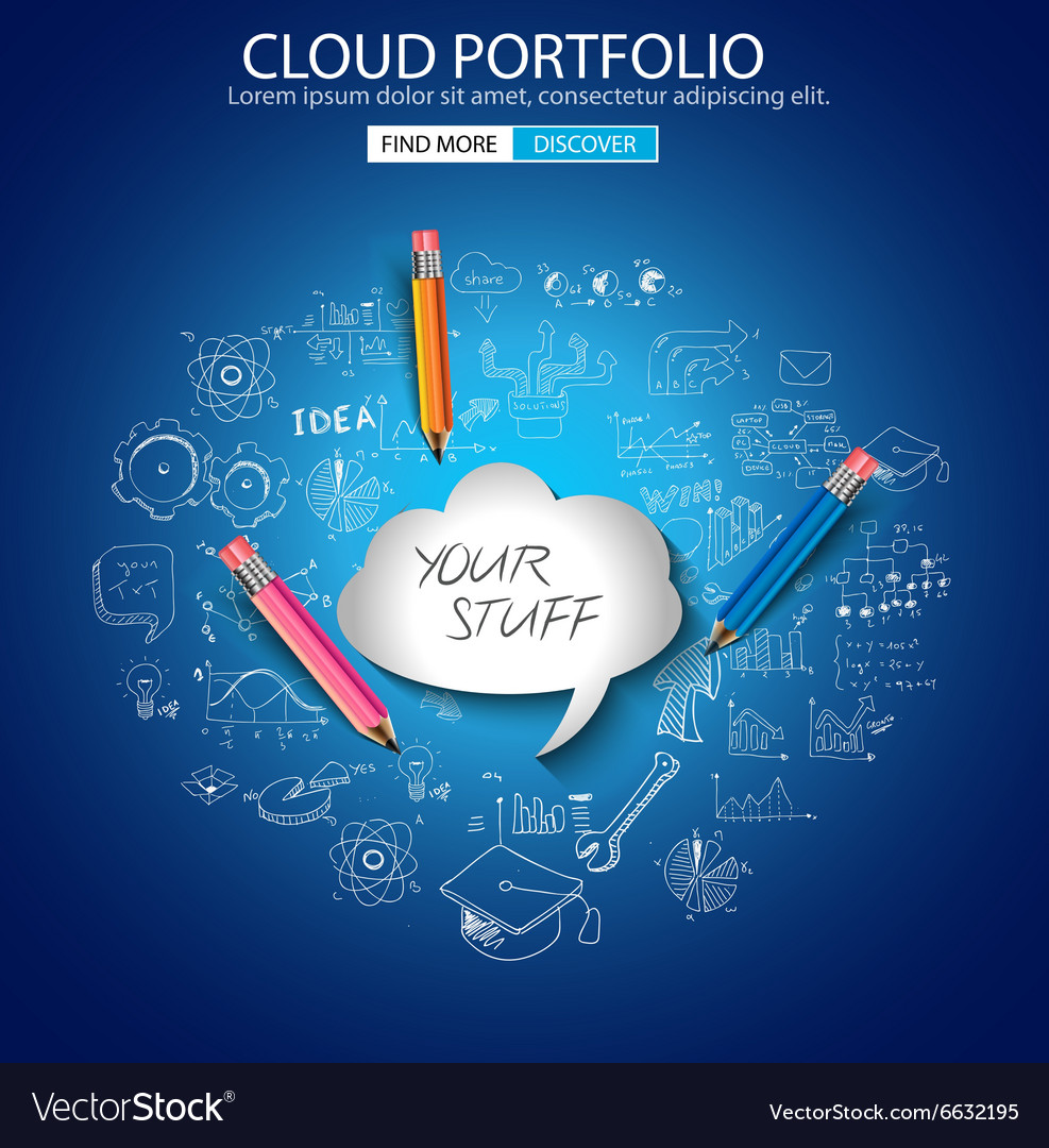 Cloud computing concept with doodle skeches