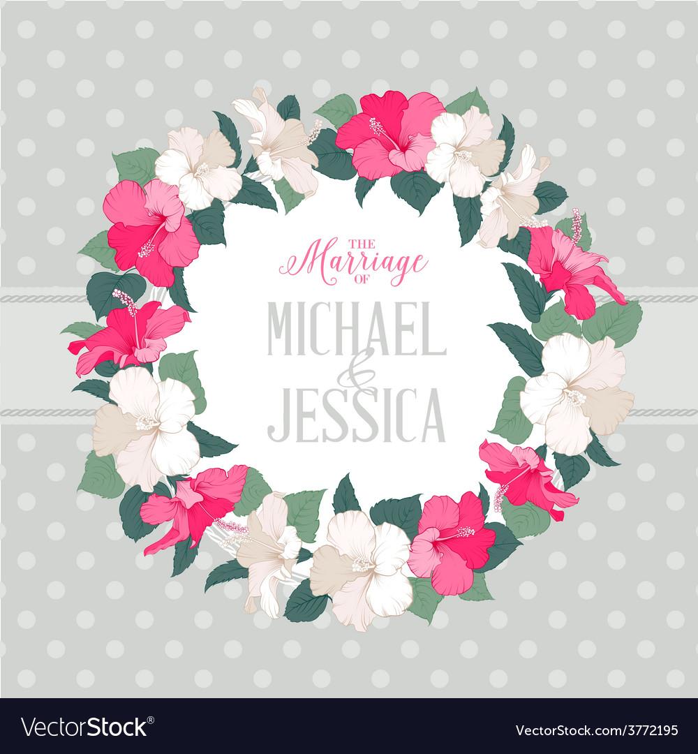 Hibiscus Flower Wreath Royalty Free Vector Image