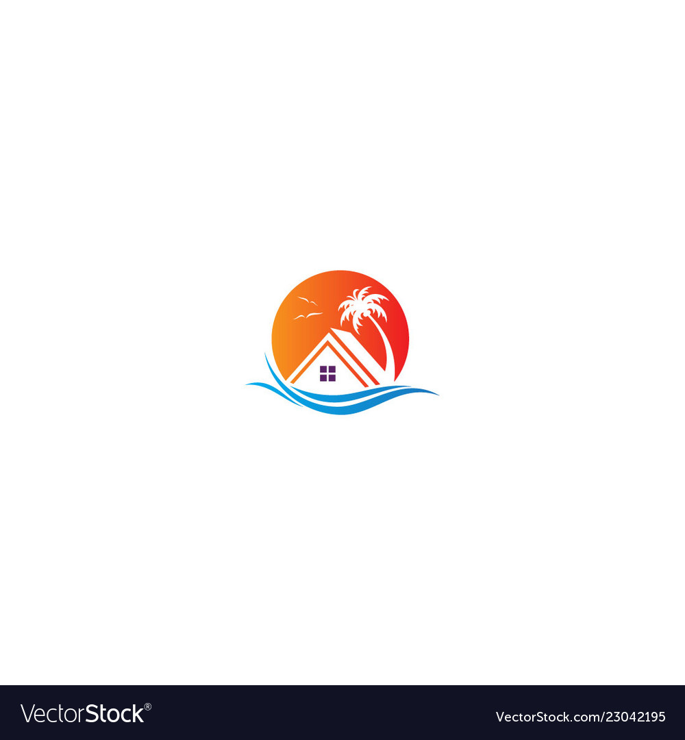 House resort beach holiday travel logo