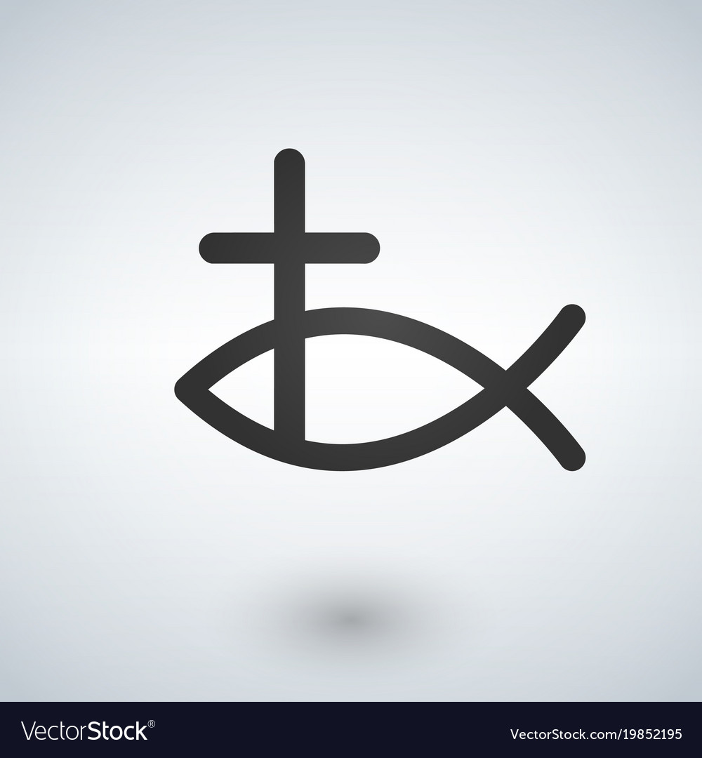 Jesus Fish And Cross Icon Royalty Free Vector Image