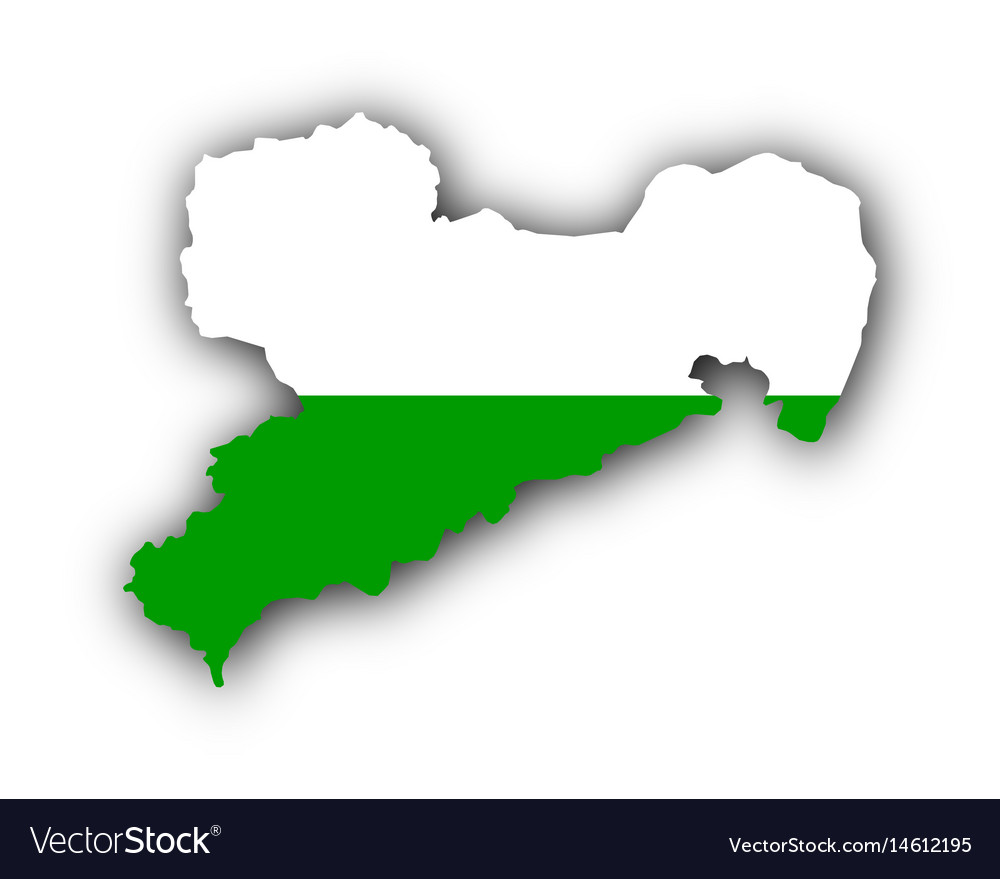 Map and flag of saxony vector image