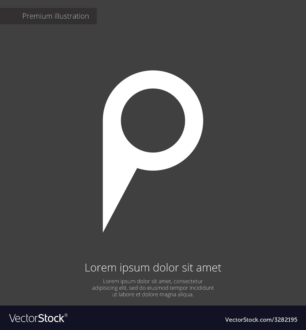 Map pin premium icon white on dark background