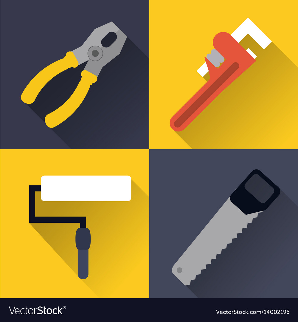 Paint brush wrench saw pliers tool icon