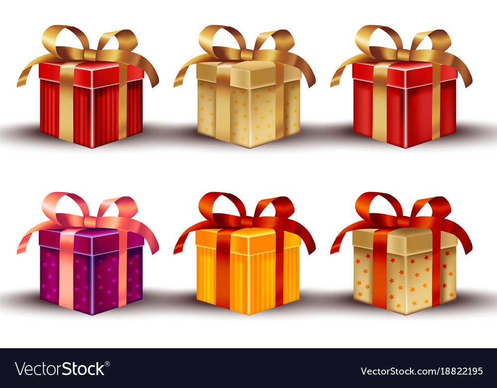 Realistic gift boxes isolated on white vector image