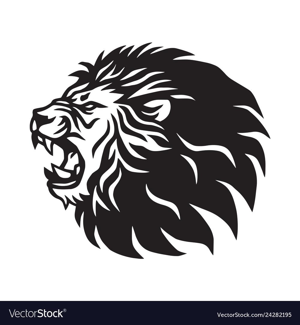Roaring lion logo mascot design