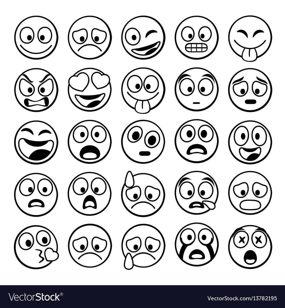 Sketch Black Sing Set Of Emoji Royalty Free Vector Image