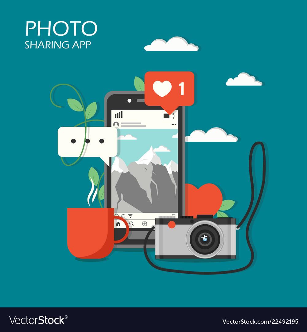 Social photo sharing app flat