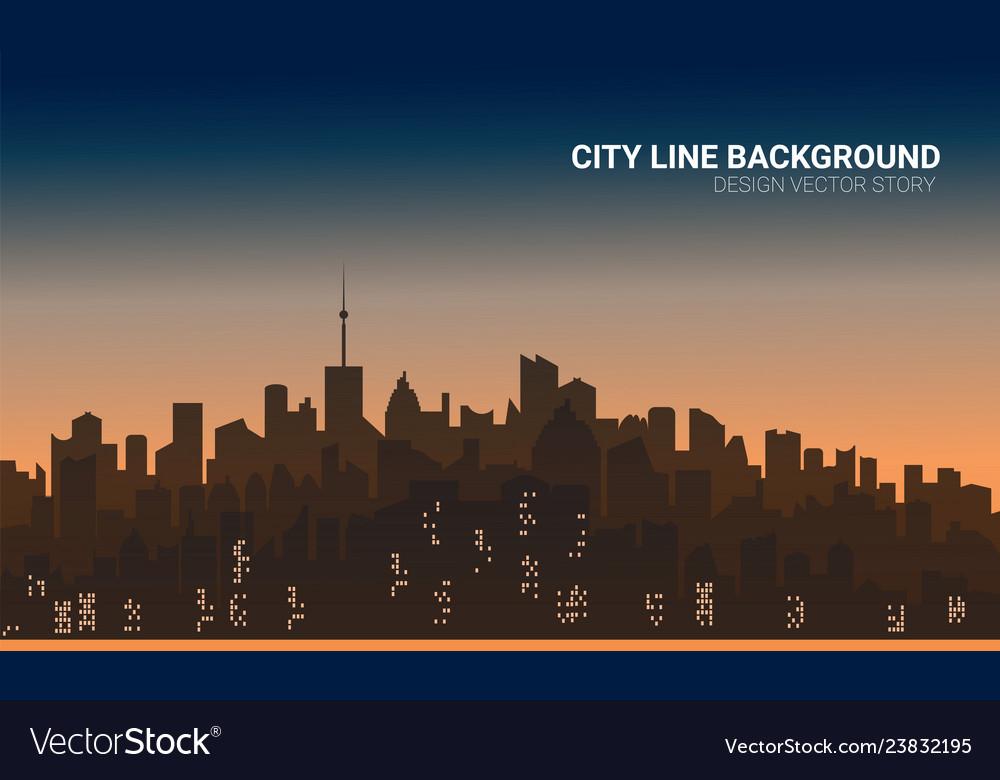 Sunset city silhouette background skyline