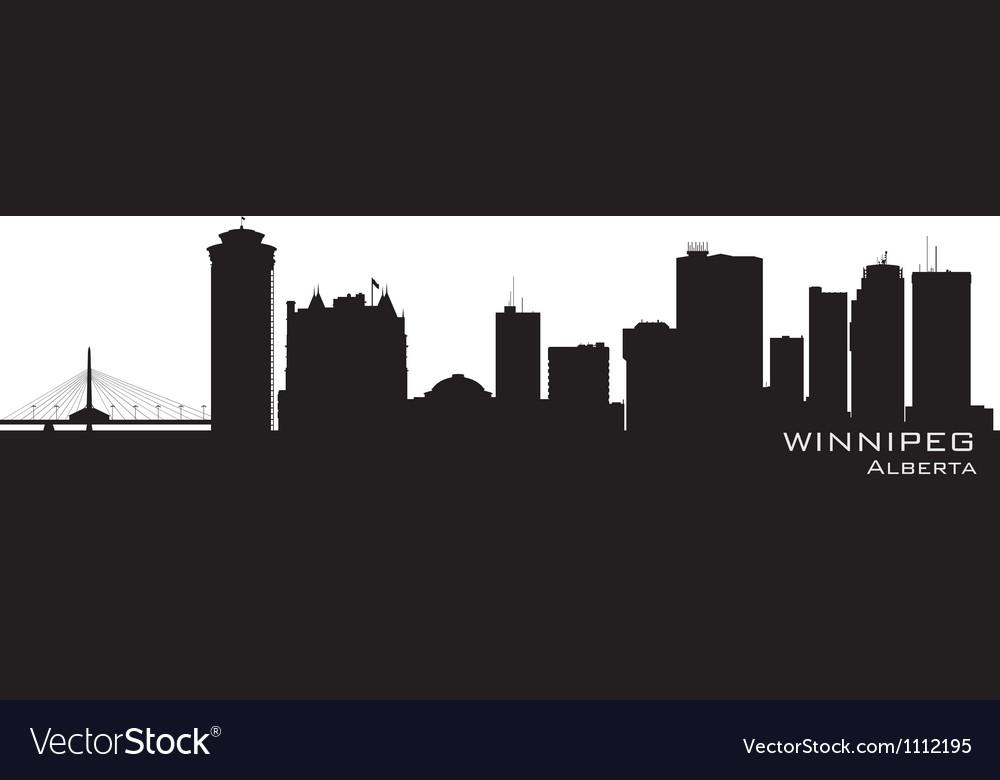 Winnipeg Canada skyline Detailed silhouette vector image