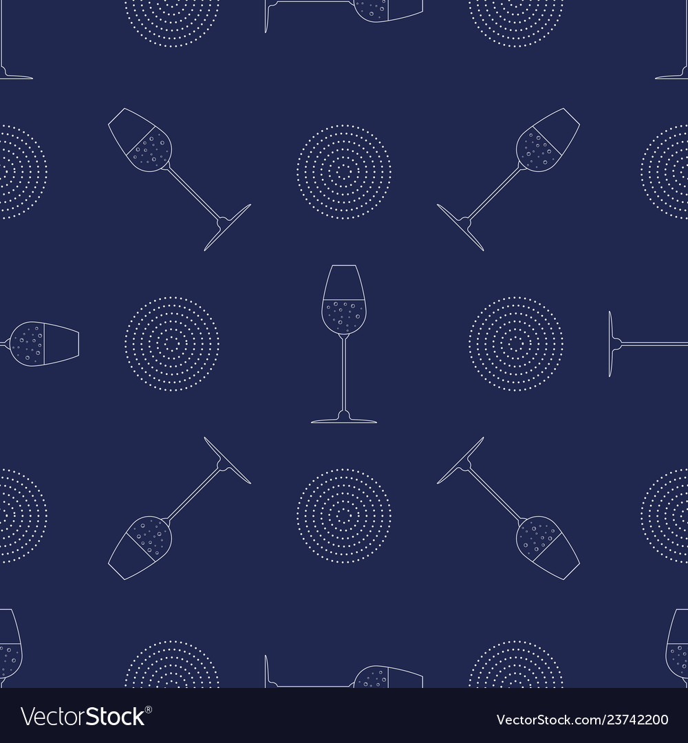 Abstract seamless pattern with glass of champagne