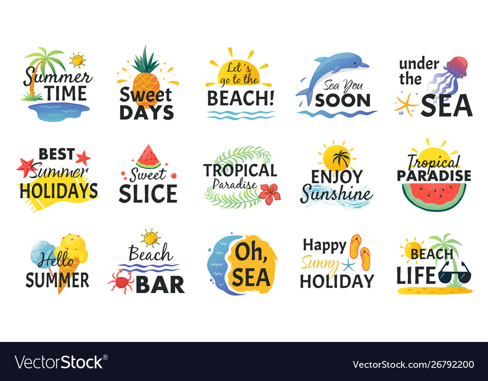 Beach hand drawn stickers summer vacation doodle