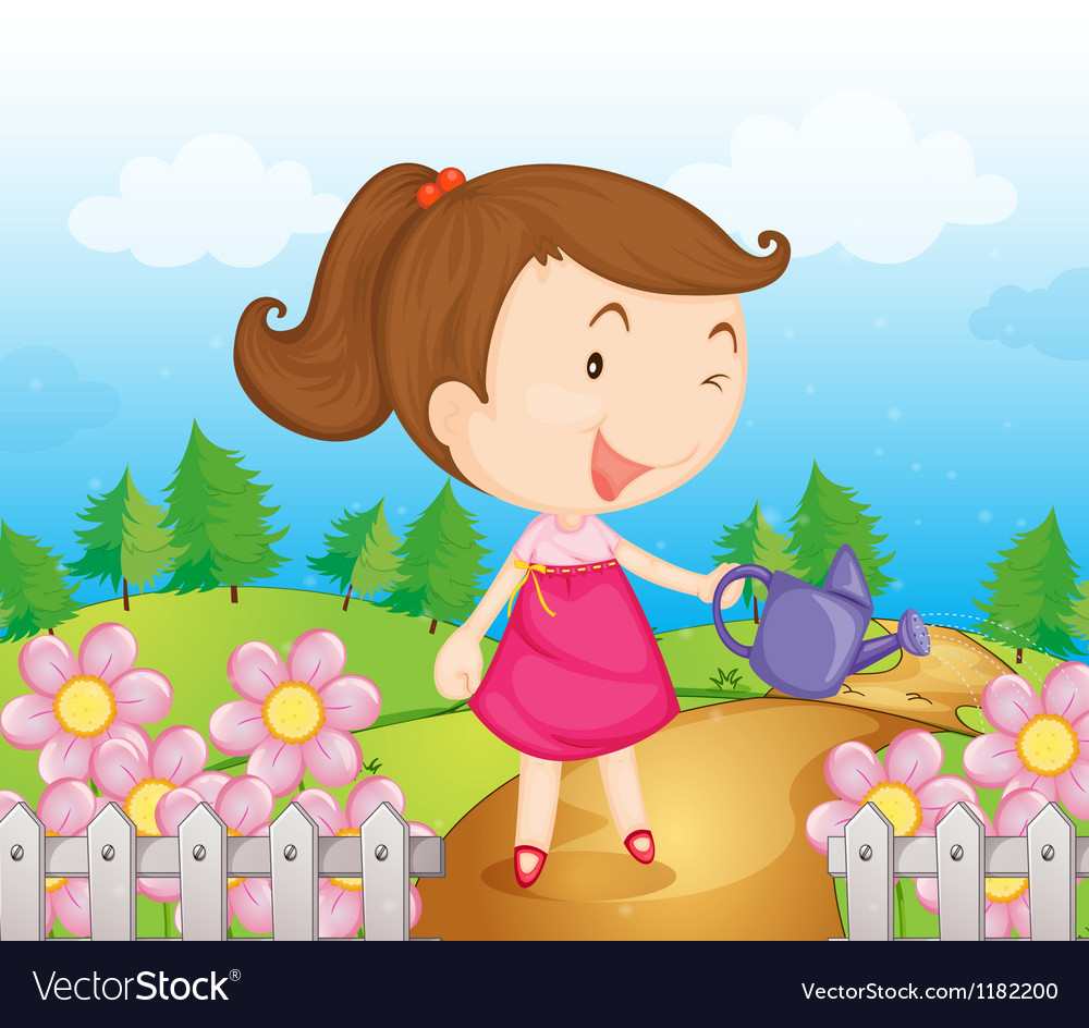 Cartoon Garden Girl vector image