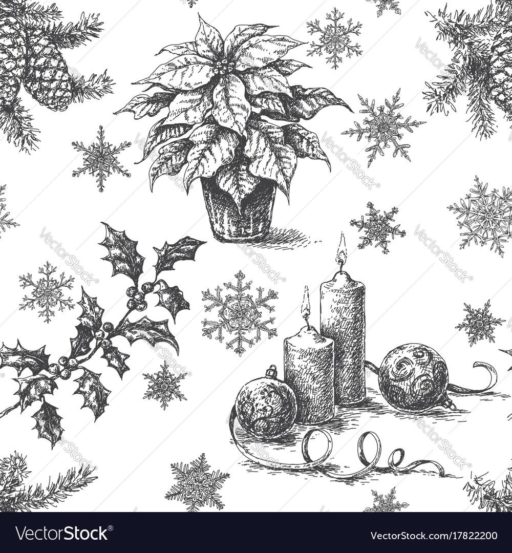Christmas sketch pattern monochrome
