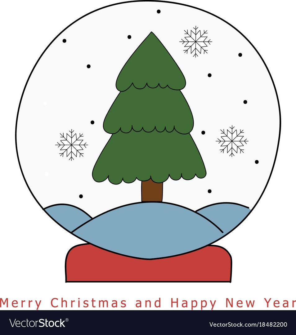 Christmas snow globe with fir tree hand drawn on