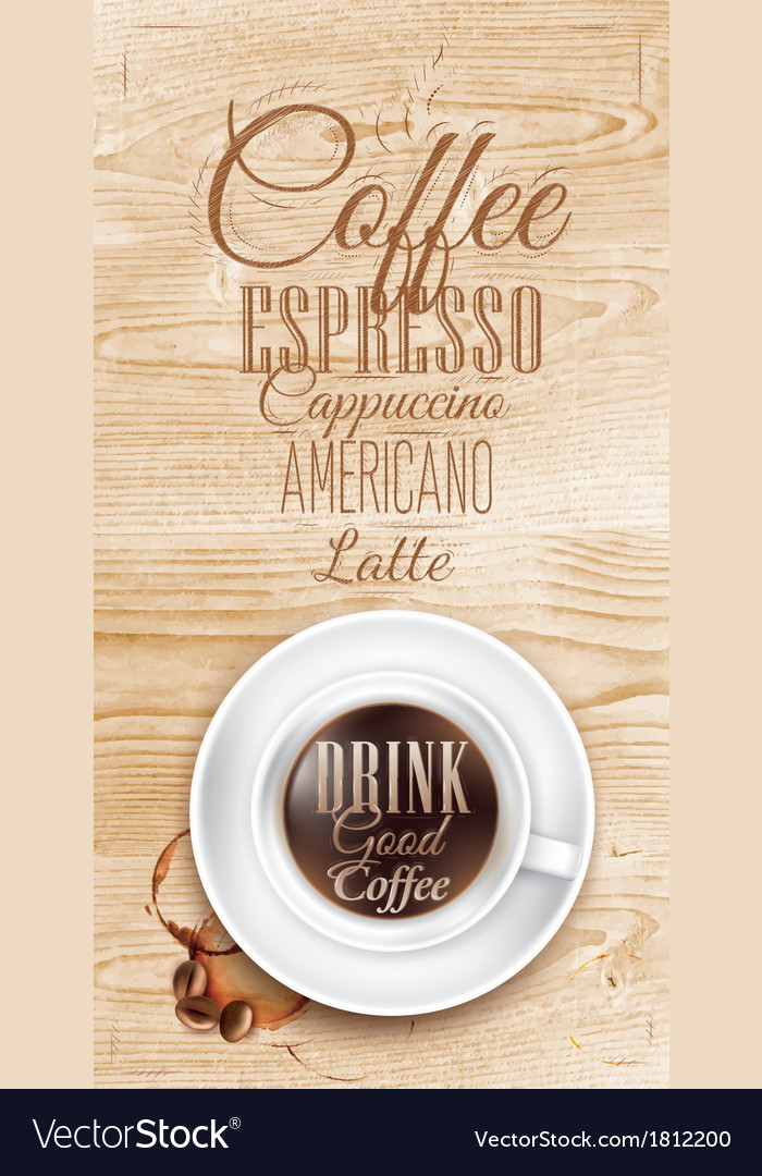 Cup coffee Light Wood vector image