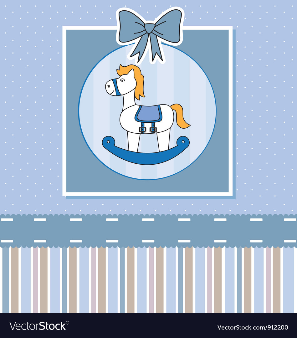 Cute baby card with rocking horse vector image