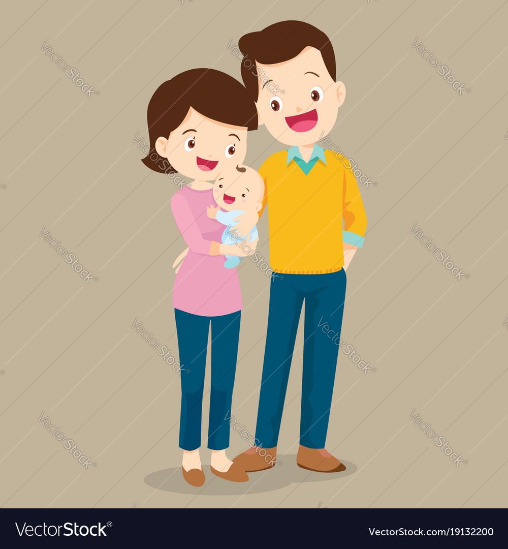 Dad and mom with cute baby