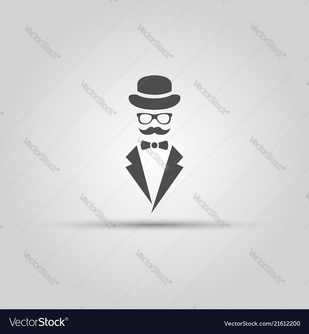 Gentleman isolated black icon